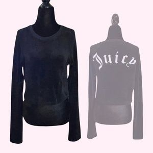 Black Cropped Velour Juicy Couture Top